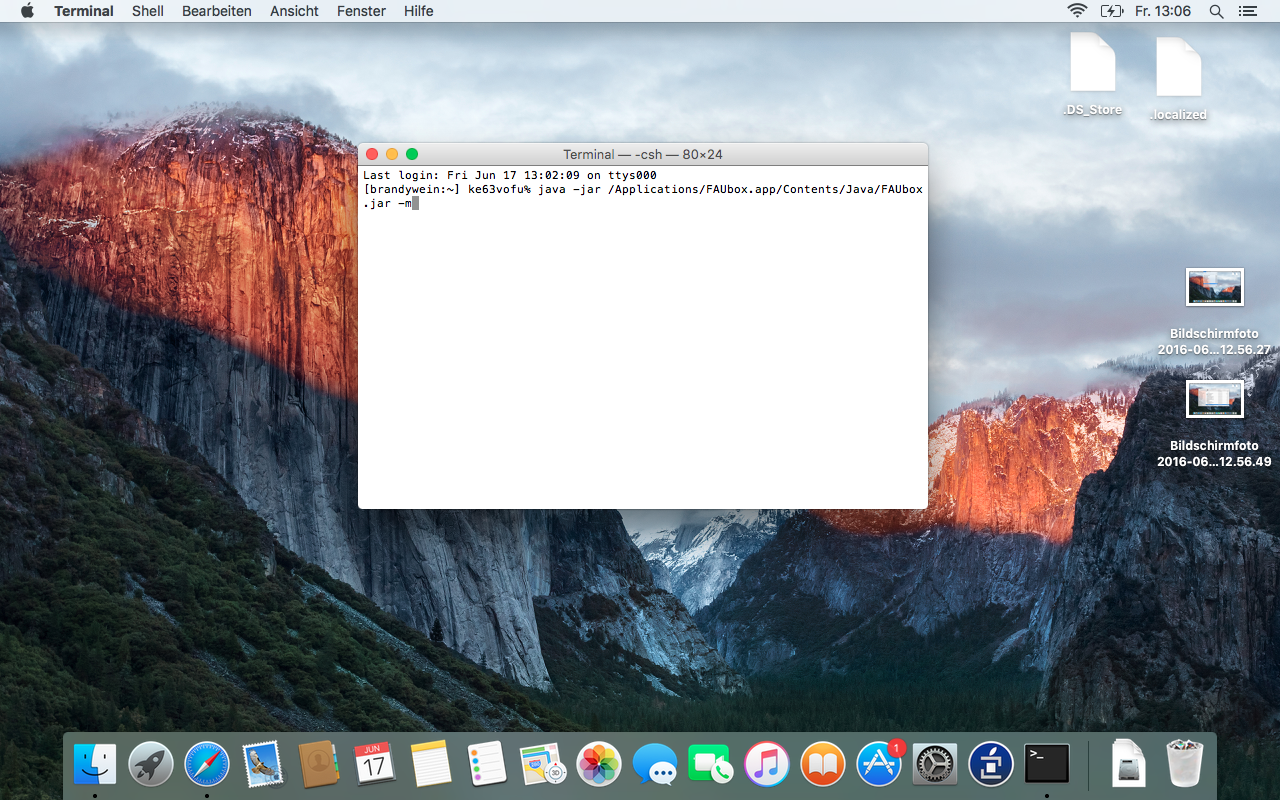 Using command line parameters › FAUbox